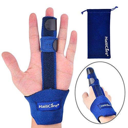 HailiCare Fingerschiene Verlängerung für Trigger Finger, Mallet Finger, Finger Knuckle Ruhigstellung, Finger Frakturen, postoperativ und Schmerzen relief- formbare Metallic Hand Splint Finger Unterstü