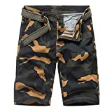 KPILP Shorts Homme - Homme 81071 Hommes Camouflage Impression Multi-Poche Ceinture...
