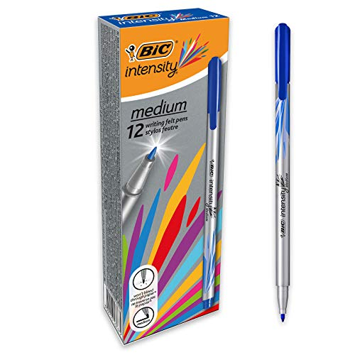 BIC Intesity Medium - Caja de 12 unidades, rotuladores punta media (0,8 mm), color azul