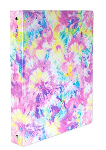 Steel Mill & Co Cute Decorative Hardcover 3 Ring Binder for Letter Size Paper, 1 Inch Round Rings, Floral Binder Organizer for School/Office, Tie Dye