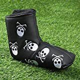 Amy Sport Golf Putter Head Covers Blade PU Leather Lucky Clover Skull Pattern Design, Pack Club Headcover Fits All Brands Men Women Scotty Cameron Taylormade (1 Pack Black Skull)