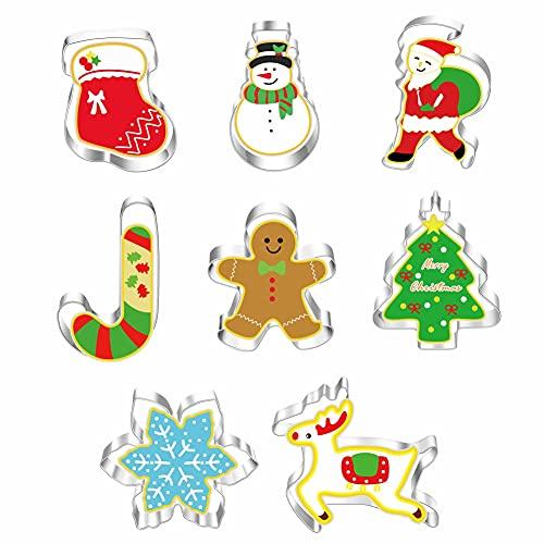 Cortadores galletas navideñas 8 piezas, molde para hornear de acero inoxidable -Papá Noel, copos de nieve, muñeco de nieve, árbol de Navidad