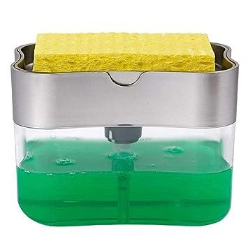 2 in 1 Soap Pump Dispenser /& Sponge Portable Holder Kitchen for Dish Cleaning