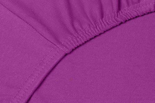 Double Jersey – Spannbettlaken 100% Baumwolle Jersey-Stretch bettlaken, Ultra Weich und Bügelfrei mit bis zu 30cm Stehghöhe, 160x200x30 Prune - 5