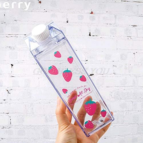 Chanety,taza de agua aislada,taza de agua Botella de agua portátil Almacenamiento de leche Sakura-Print Strawberry-Print Sports Beber Copa transparente para la oficina de la escuela de hogar envío de