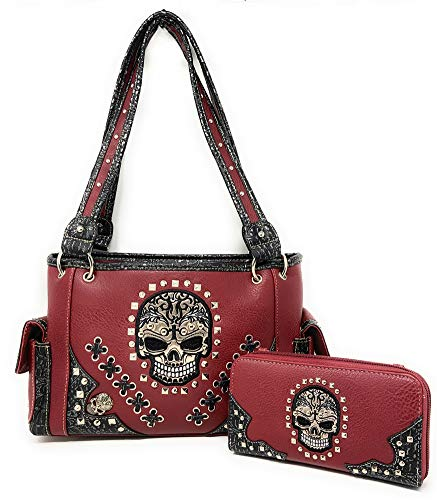 Texas West Women's Embroide Sugar Skull Handbag Purse Wallet Set in Multi Color (Red)