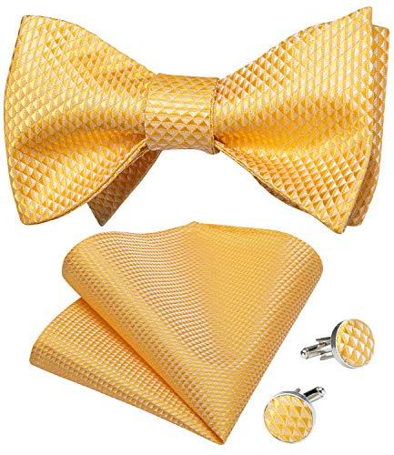 DiBanGu Gemelos cuadrados de tela de seda para hombre, diseño de rayas, amarillo, (06 Yellow), Talla única
