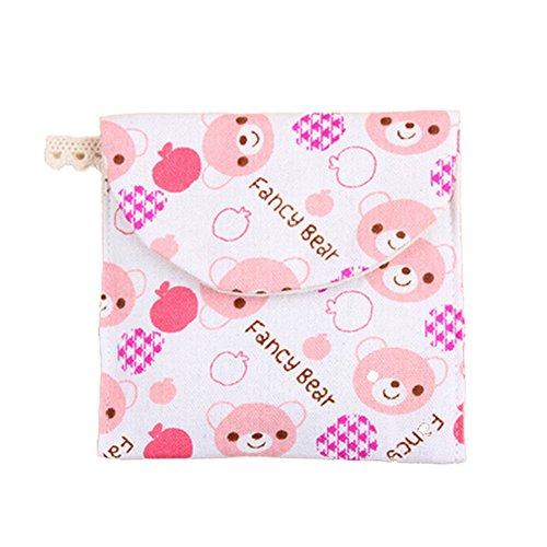 Bigboba Damenbinden-Tasche, für Damen/Mädchen, aus Baumwolle, für Make-up/Damenbinden/Geldmünzen/Kosmetik, Baumwolle und Bettzeug, rose, M