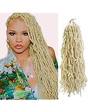 Beyond Beauty Nu Faux Locs Szydełkowe włosy Zapętlone Goddess Locs Szydełkowe włosy Miękkie dredy Doczepiane włosy syntetyczne Sztuczne loki Kręcone falowane włosy 6 paczek / partia 24 cale 21pasm/paczka(#613)