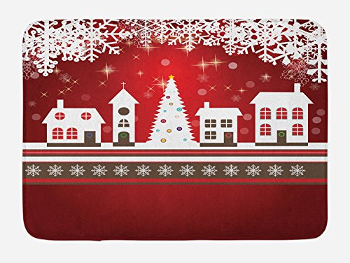 "Ambesonne Christmas Bath Mat, Winter Holidays Theme Gingerbread House with Trees and Snowflakes Artwork Print, Plush Bathroom Decor Mat with Non Slip Backing, 29.5"" X 17.5"", White Red"