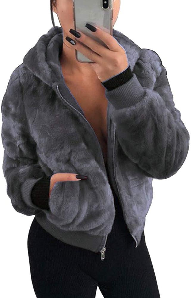 GLIENST Womens Faux Fur Jacket Zipper Fuzzy Hooded Long Sleeve Shaggy Winter Outwear Coat Pockets