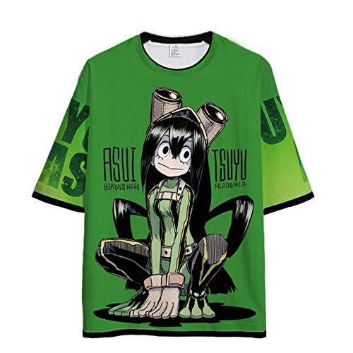 YZJYB 3D Estampado My Hero Academia Suelto Camiseta Hombres y Mujeres Verano Informal T-Shirt Dibujos Anime Asui Tsuyu Manga Corta,Small