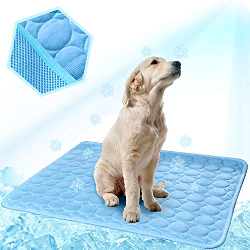 Washable Dog Cooling Mat Ice Silk Pet Self Cooling Pad Blanket (40x28 in, Blue)