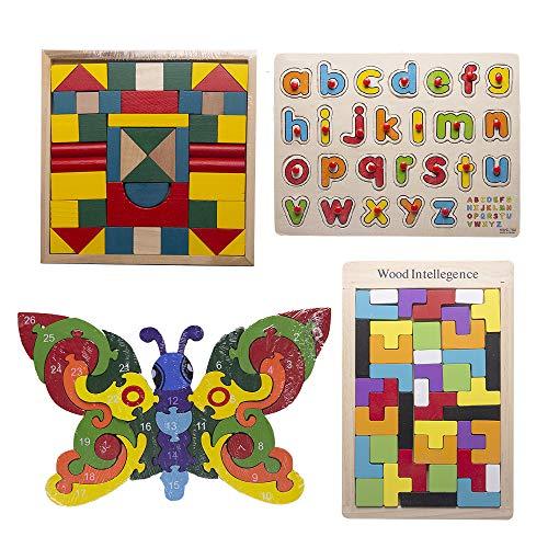 Desconocido Kit de 4 Juguetes educativos de Madera para niños (Puzzle Mariposa, Tablero Alfabeto, Puzzle geometrico y Juego para armar Figuras geométricas)