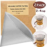 Reusable Pour Over Coffee Filter - 2 Pack Stainless Steel Fine Mesh Coffee Filters Drip Cone Filter Paperless Metal Permanent Coffee Filter for Hario, Chemex, Ovalware, and Other Carafes (2-4 Cup)