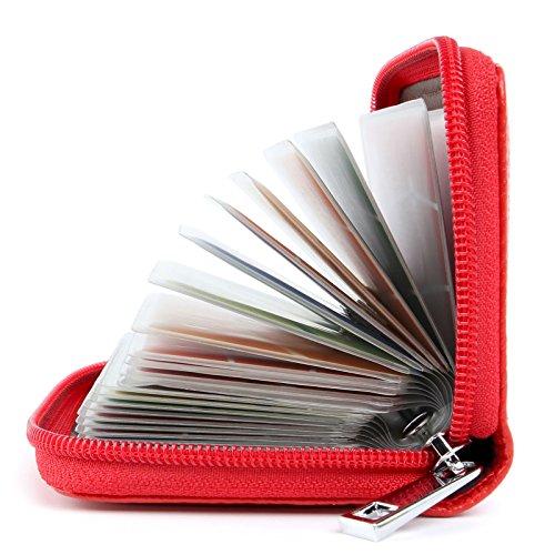 Tarjeteros Mujer Piel Tarjeteros para Tarjetas de Credito Cuero (Rojo)