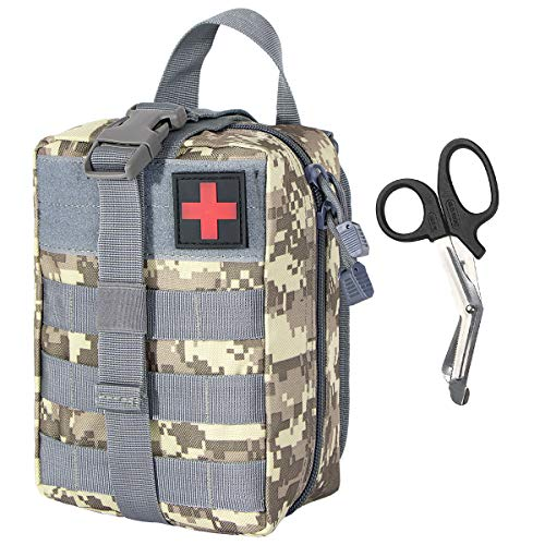 IronSeals Tactical Molle Quick Rip-Away Compact EMT Pouch High Capacity Roomy Sturdy Medical First Aid Utility Waist Bag with EMT Shears