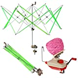 Yarn Ball Winder, Yarn Skein Winder with Skein Holder Umbrella Swift Hand Operated Hank Winder 4 Ounce Capacity with Metal Handle and Tabletop Clamp Crafts Sewing Accessories