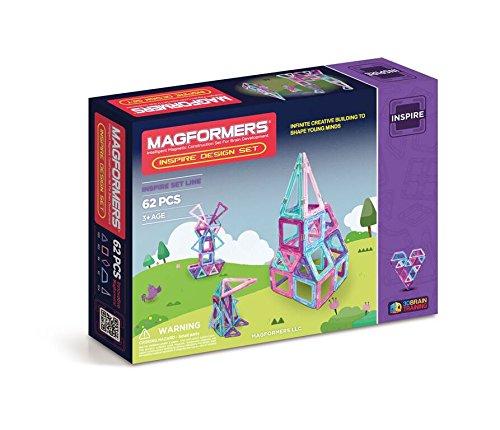Magformers Inspire Design Set (62-Pieces) Magnetic Building Blocks, Educational Magnetic Tiles Kit , Magnetic Construction STEM Set