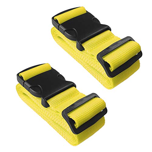 Luggage Straps Suitcase Belt, WHOOL Adjustable Suitcase Baggage Bag Straps Non-Slip Travel Accessories, 2 Pack (Yellow)