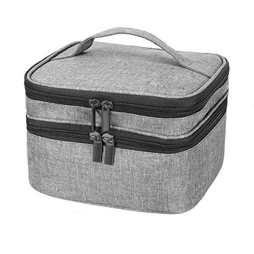 SKYXIU Bolsa de almacenamiento doble para esmalte de uñas, bolsa grande de almacenamiento de aceite de uñas y bolsa de cosméticos puede contener 30 botellas (15 ml), Gray (Gris) - CPEWL1JQFE