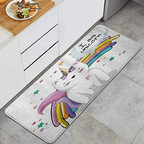 VINISATH Tappeti Cucina Antiscivolo Cucina Lavabile Antiscivolo Bagno Zerbino Tappeto Passatoia,Animale fata unico con stelle di fiocco di cono gelato e fantasia di fantasia per bambini arcobaleno