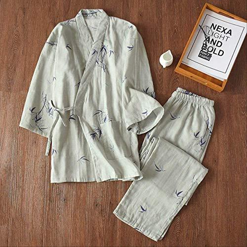XFLOWR Schlafanzug für Männer und Frauen, für Frühling und Sommer, weicher Chiffon, für Damen, japanischer Stil, bequeme Kleidung, grau, L