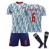 KHLKGMW Camiseta de fútbol Jersey,20-21 Mujer Home No. 6 añ Dër BěeK Jersey Set Unisex Adulto Blanco Jersey de fútbol con calcetines 18