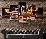 KOPASD Cuadros Modernos Impresión de Imagen Artística Digitalizada | Lienzo Decorativo para Tu Salón o Dormitorio | Cigarro | 5 Piezas 150x80cm