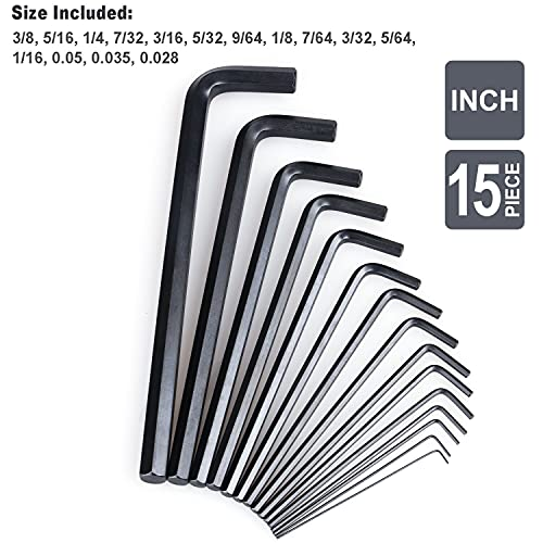 30-Piece Premium Hex Key Allen Wrench Set, SAE and Metric Assortment, L Shape, Chrome Vanadium Steel, Precise and Chamfered Tips   SAE 0.028 - 3/8 inch   Metric 0.7 - 10 mm   In Storage Case