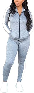 Women Two Piece Outfits Tracksuits Patchwork Zipper Jacket and Skinny Pants Suit Sweatsuits Jogger Suits