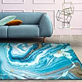 Ocean Abstract Area Rugs for Living Room Turquoise Gold...