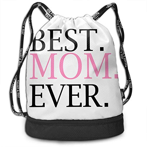 Petrichor Yi Gym Sack Best Mom Ever Print Drawstring Bags - Sac à Dos à Poche Simple Bundle