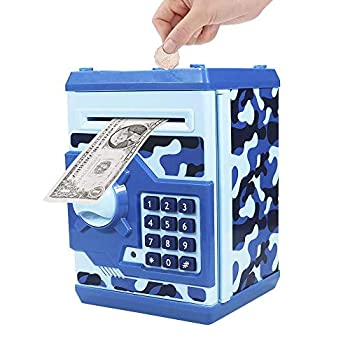 Totola Piggy Bank Electronic Mini ATM for Kids Baby Toy Safe Coin Banks Money Saving Box Password Code Lock for Children,Boys Girls Best Gift Camouflage
