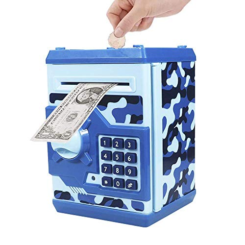 Totola Piggy Bank Electronic Mini ATM for Kids Baby Toy, Safe Coin Banks Money Saving Box Password Code Lock for Children,Boys Girls Best Gift(Camouflage )