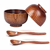 ORYOUGO 4 Pieces Wooden Handmade Bowl and Spoon for for Rice Miso Serving Home Kitchen Tableware