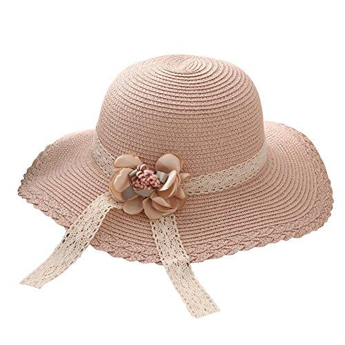 Fablcrew 1Pcs Enfants Chapeau de Paille Anti-Soleil Respirant Anti UV avec Dentelle Fleur pour Les Filles été Plage Loisir Voyage (Rose)