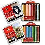 Koh-I-Noor POLYCOLOR 3824-14 und 15 - Lápices de colores para'Retrato' y'Paisaje' en una caja de metal, juego de 2 piezas cada 24 piezas