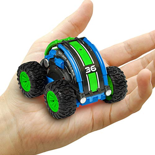 Power Your Fun Stunt Roller Mini Remote Control Car for Kids - Fast Mini Stunt RC Car, RC Toy Car 360 Flips, Tricks, and Spins with All-Terrain Tires and 2.4GHz Remote Control (Green/Blue)