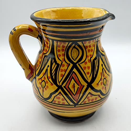 Decoración étnica Jarra cerámica terracota marroquí pintada a mano 0605211004