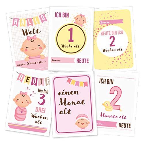 Baby Meilenstein-Karten fürs erste Lebensjahr - (Sprache Deutsch) - Meilensteinkarten - Geschenk zur Geburt, Babyparty, Schwangerschaft (Für Mädchen)