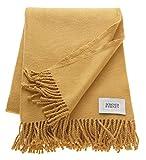 Schöner Wohnen Kollektion Tagesdecke 140x200 Baumwolle Mischung • unifarbene Kuscheldecke Basics • Sofadecke Gold