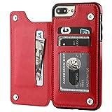 ZLAHY Carcasa de telefono Funda de Cuero Retro de la PU para iPhone 11 Pro MAX Multi Card Holder Fundas de teléfono para iPhone X 6 6s 7 8 Plus XS 5S Funda Capinhas, Rojo, para iPhone 7