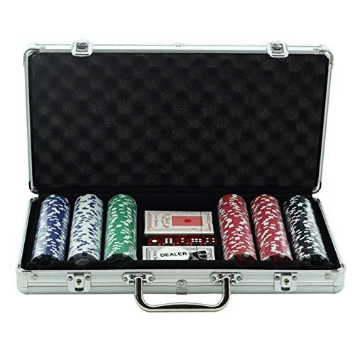 NOGJKS Pokerkoffer 300 Chips Laser Pokerchips Pokerset Pokerkarten, inkl. Pokerdecks,Würfel,Dealer Button,Pokerchips,Jetons,Koffer,Kartenspiel Zubehör,Familienspiel