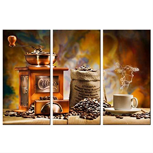 HTRHUA Moderne home muurkunst decoratie foto's 3 stuks koffiemolen machine koffiebonen Hd gedrukt schilderij op canvas poster 40 * 80cm*3pcs Met frame.