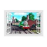 AMWFF - Adesivo da parete, motivo trenino 3D, per cameretta dei bambini, in PVC, 280,45 x 60 cm