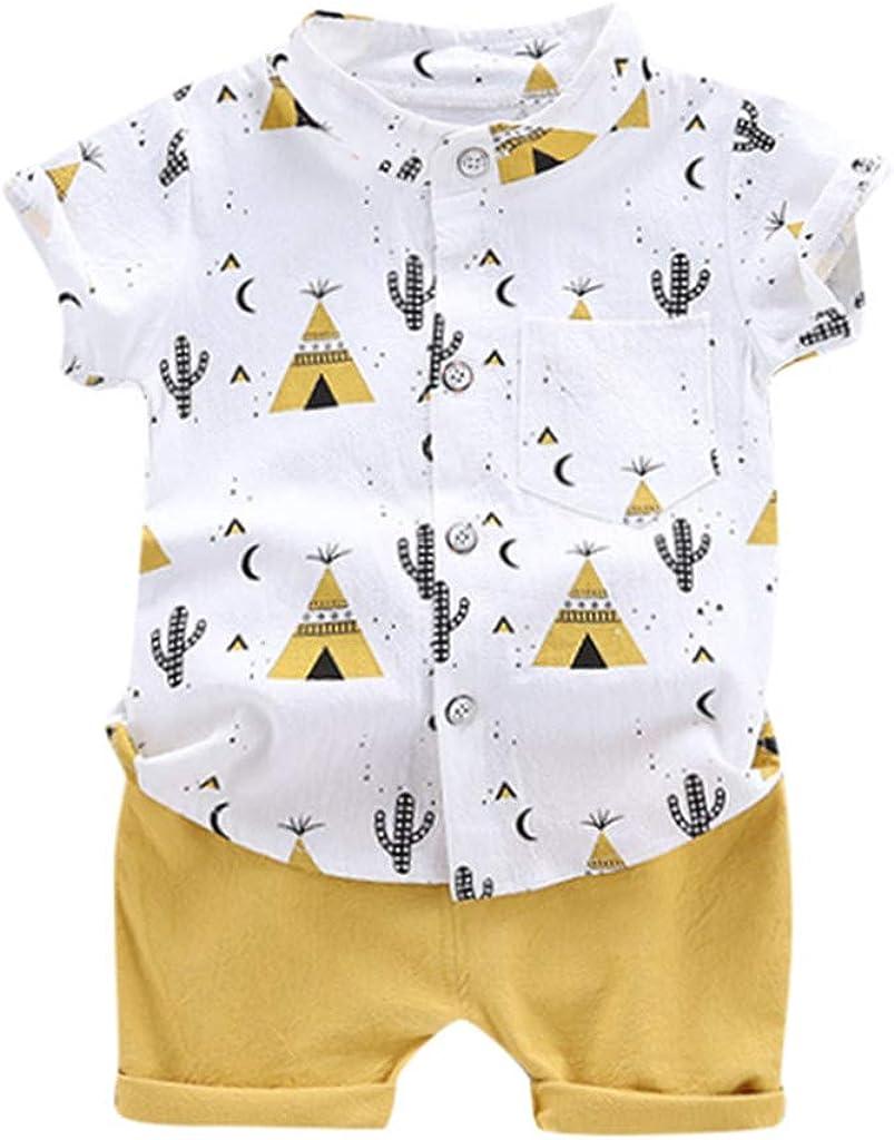 Toddler Baby Boys Cartoon Cactus Print Short-Sleeve Button Down Shirt+Short Pants 2PCS Summer Outfit Set