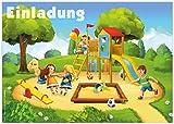 12 Einladungskarten zum Kindergeburtstag 'Spielplatz' / Geburtstagseinladungen Einladungen...