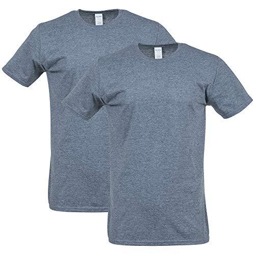Gildan Men's Softstyle Cotton T-Shirt, Style G64000, 2-Pack, Dark Heather, Large