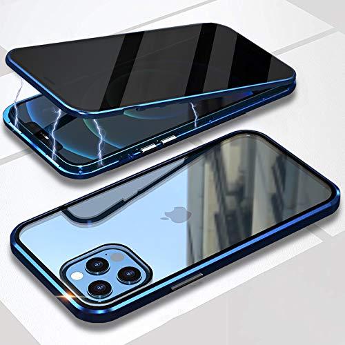 Funda para iPhone 12/12 Pro Anti-Spy Carcasa,360° Proteccion Funda con Anti-Peep Privacy Vidrio Templado Cover,Adsorción Magnética Rugged Metal Marco Bumper Anti-pío Case para iPhone 12/12 Pro,Azul